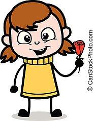Showing a Rose - Retro Cartoon Girl Teen Vector Illustration