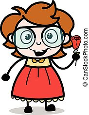 Showing a Rose - Teenager Cartoon Intelligent Girl Vector Illustration