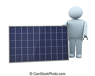 showing a solar panel - one stylized man with a solar panel...