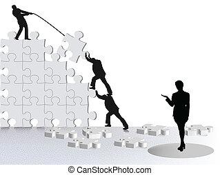 showing achievement of business success via team constructing on puzzle