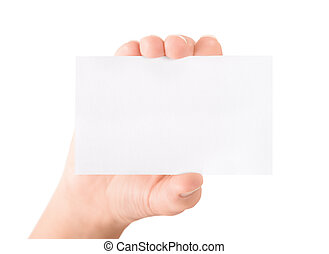 Showing blank business card isolated