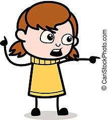 Showing by Pointing Finger - Retro Cartoon Girl Teen Vector Illustration