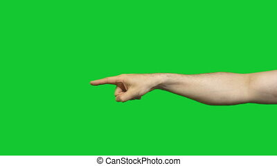 Showing down forefinger on green background - Footage of...