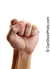 Showing fist - Image of male showing fist isolated over...
