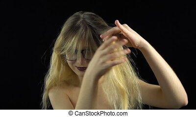 Showing hair blond woman
