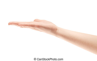Showing hand isolated on white.