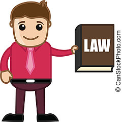 Showing Law Book - Know the Law - Cartoon Businessman...