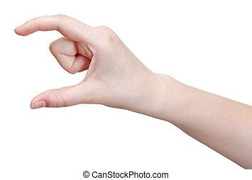 showing medium size - hand gesture