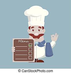 Showing Menu- Cook Vector Illustration