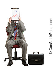Showing mood - Portrait of stressed businessman sitting on...