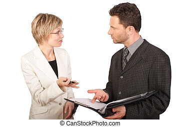 showing report - Business woman presenting report to her...