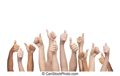 showing, ruce vzhůru, lidský, palec