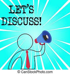 showing., sur, concept, mot, business, discuss., texte, écriture, s, demander, laisser, quelque chose, démontrer, quelqu'un, ou, parler