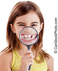 Showing teethes - Beautiful girl showing teethes through a...