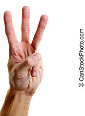 Showing three fingers - Image of male hand showing three...