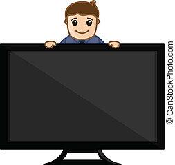 Showing TV - Vector Illustration