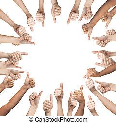 showing, up, palec, lidský dílo, kruh