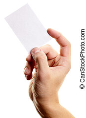 Showing visiting card - Image of male hand with blank...