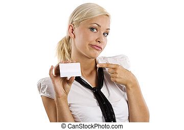 showing white card making face