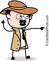 Showing with Pointing Finger - Retro Cartoon Police Agent Detective Vector Illustration