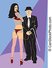 showman - elderly showman with sexual assistant on the scene