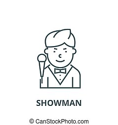 Showman vector line icon, linear concept, outline sign, symbol