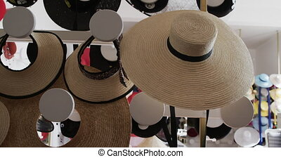 Showroom at a hat factory - Close up of the showroom at a ...