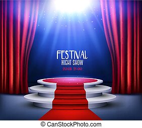Showroom Background With A Red Carpet and Spotlight. Festival night show poster. Vector.
