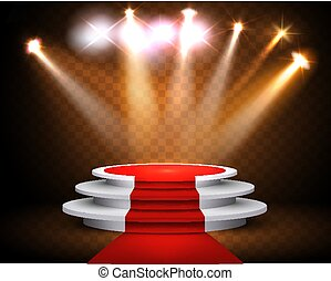 Showroom Background With A Red Carpet and Spotlight. Festival show poster. Vector.