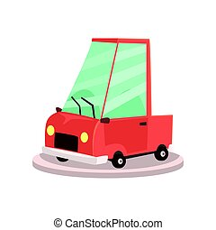 Showroom or dealership with cartoon yellow car, Colorful vector Illustration