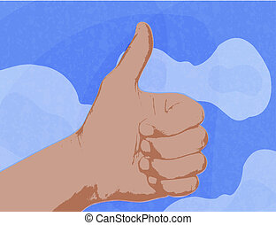 shows a thumbs up as a symbol against the blue sky with clouds.