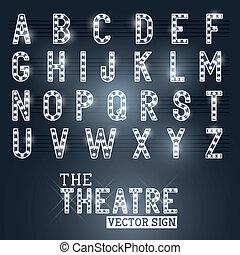 showtime, alfabeto, teatro, señal