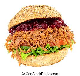 Shredded Beef And Salad Sandwich Roll