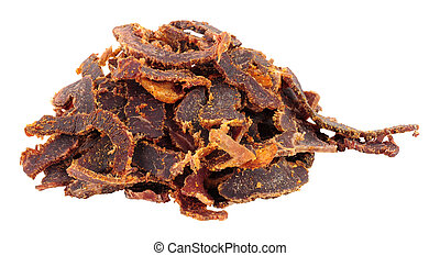 Shredded biltong dried meat isolated on a white background
