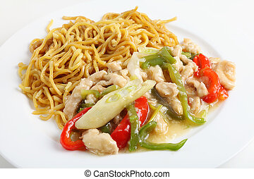 Shredded chicken and noodles