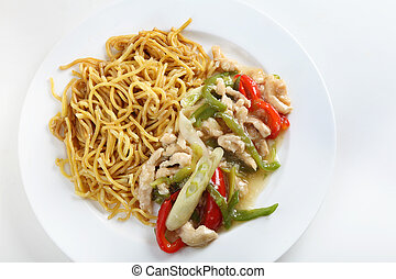 Shredded chicken noodles high angle