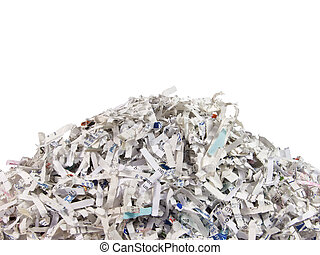 bits of shredded documents isolated on a white background