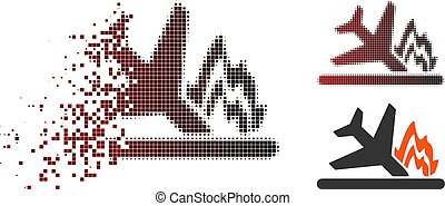 Shredded Dot Halftone Airplane Crash Icon