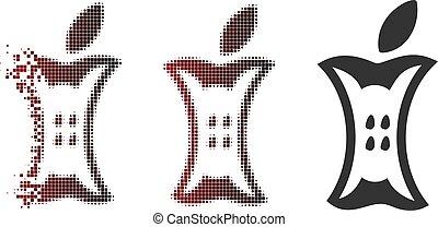 Shredded Dot Halftone Apple Stump Icon