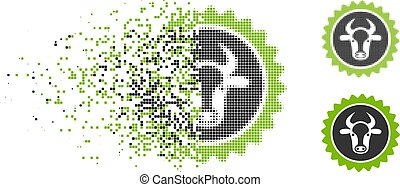 Shredded Dot Halftone Beef Certificate Seal Icon