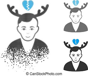 Shredded Dot Halftone Deceived Horned Husband Icon with Face...