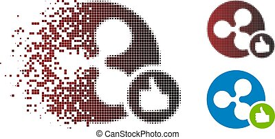 Shredded Dotted Halftone Ripple Coin Thumb Up Icon