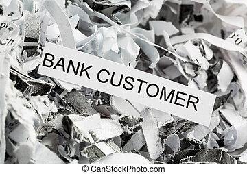 shredded paper bank customer