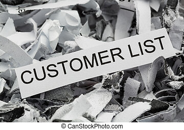 shredded paper customer list - of paper with the heading...