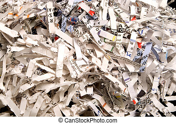 Shredded Paper - Destroyed documents in a pile from a paper ...