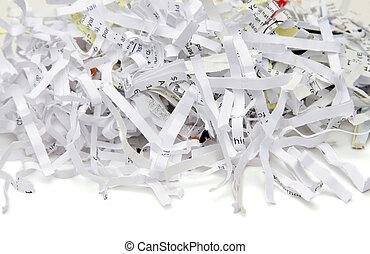 Shredded document paper isolated on white background.
