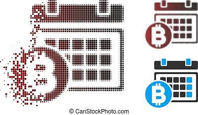Shredded Pixel Halftone Bitcoin Table Icon - Vector Bitcoin...