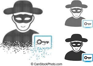 Shredded Pixel Halftone Computer Hacker Icon with Face