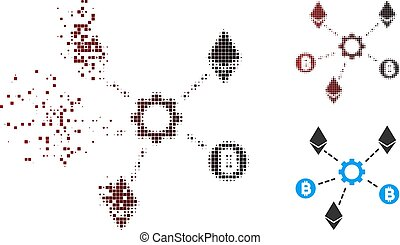 Shredded Pixel Halftone Cryptocurrency Network Nodes Icon