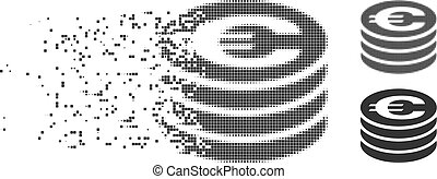 Shredded Pixel Halftone Euro Coin Column Icon